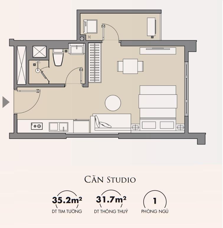 Thiết kế căn hộ Studio Masteri Smart City