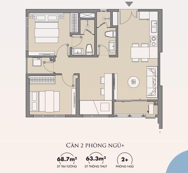 Thiết kế căn hộ 2 ngủ 64m2 Masteri Smart City